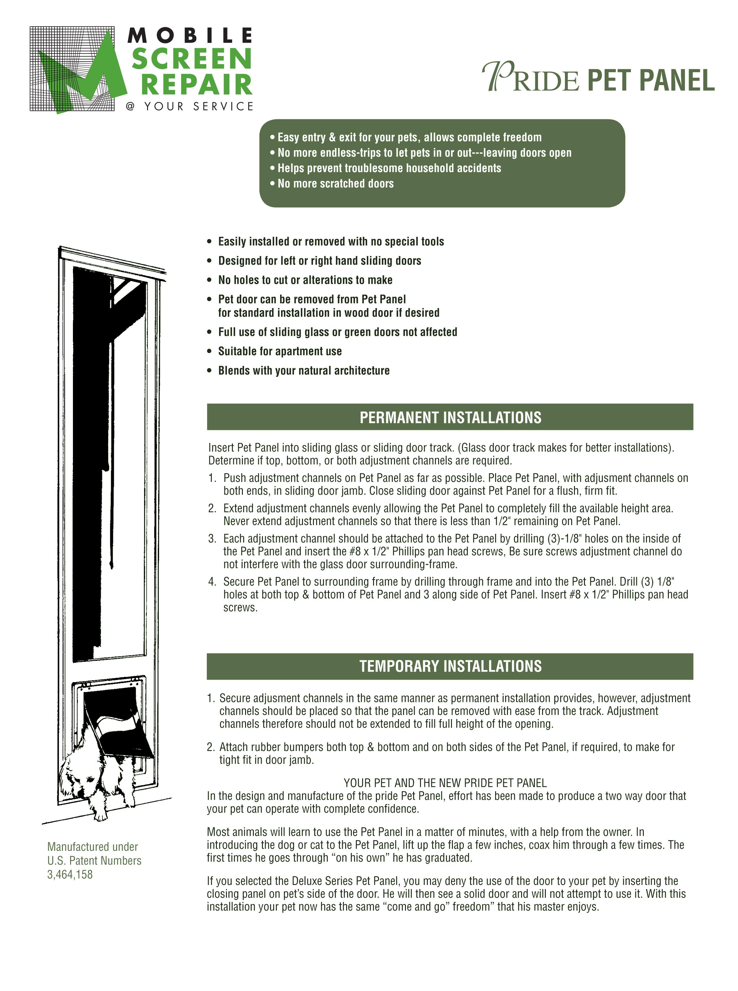 Doggie Door Installation Mobile Screen Repair